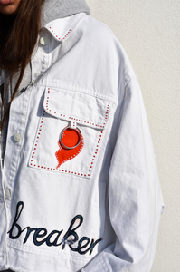 Hand-painted Denim Jacket in White