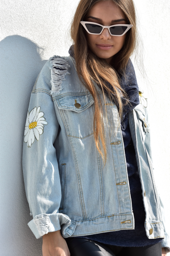 Distressed Hand-Painted Denim Jacket