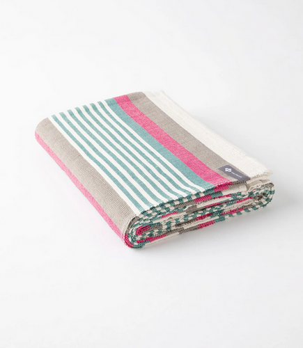 Cotton Yoga Blanket - Beach Stripe