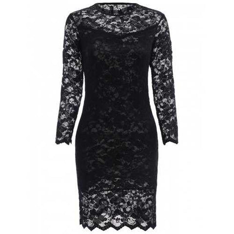 Lace Tight Homecoming Dress with Sleeves - Black S