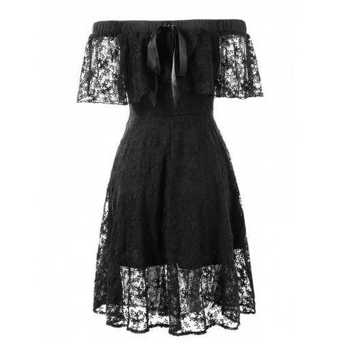 Elastic Shoulder Flare Lace Dress - Black M