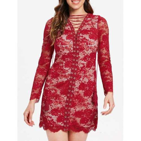 Long Sleeve Lacing Front Lace Dress - Red Wine S