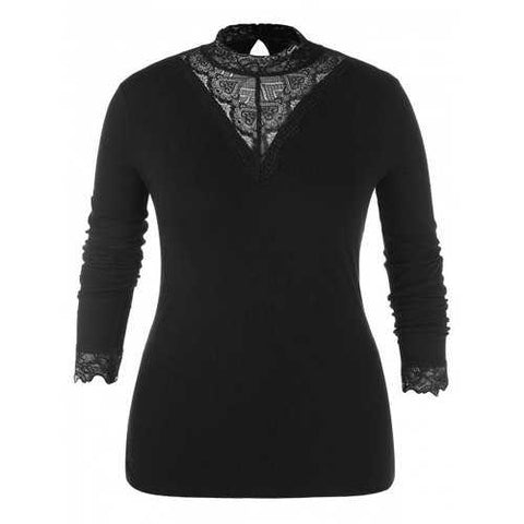 Plus Size Mock Neck Lace Splicing Long Sleeves Top - Black 2x