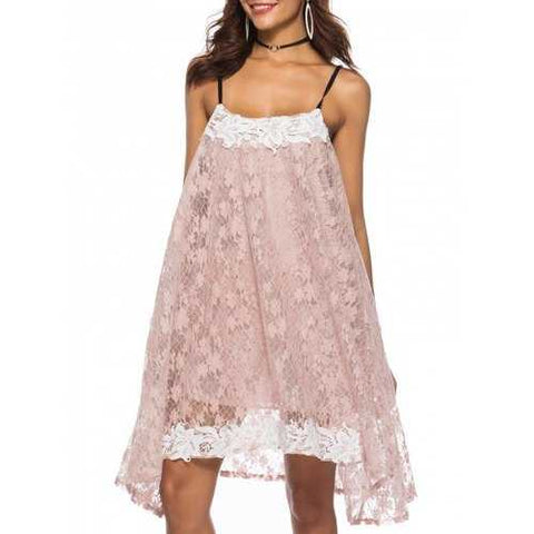 Spaghetti Strap Contrast Trim Lace Swing Dress - Pig Pink L