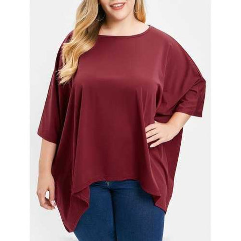 Plus Size Batwing Sleeve Asymmetrical T-shirt - Red Wine L