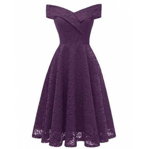 Lace Off Shoulder Flare Party Dress - Purple Iris S