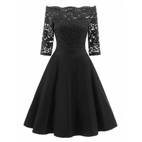 Off Shoulder Floral Lace Panel Dress - Black L