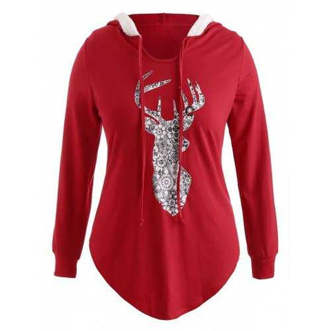 Plus Size Pullover Elk Christmas Hoodie with Faux Fur - Red 1x