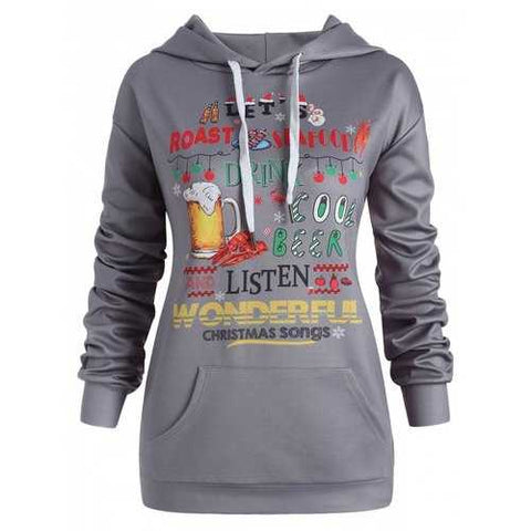 Plus Size Christmas Letters Pullover Hoodie - Dark Gray 3x