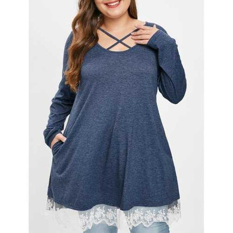Plus Size Lace Panel Criss Cross Long Sleeves Tee - Sky Blue 1x