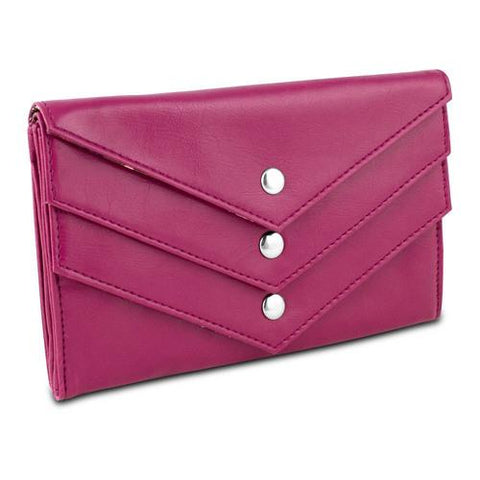 Travelon Tri-Flap Wallet - Pink with Paisley Interior