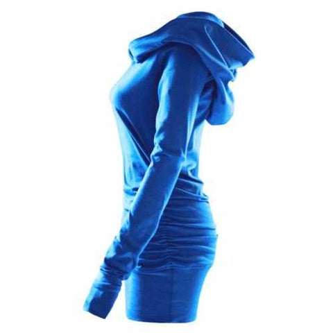 Plus Size Ruched Longline Hoodie - Blue L