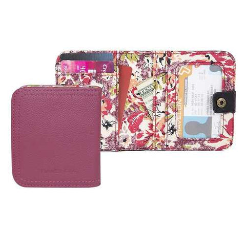 "Travelon Women""s Hack-Proof RFID Blocking Leather Bifold Wallet Card Case Berry"