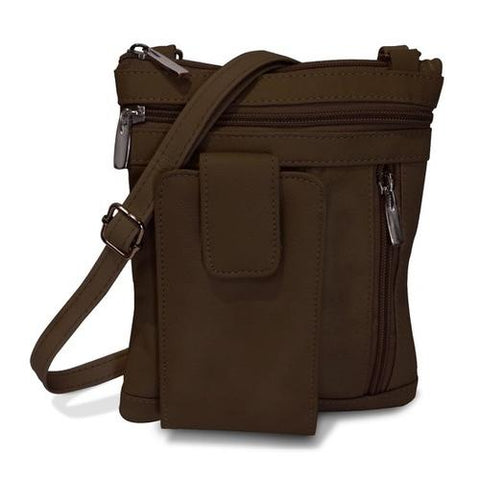 On The Go AFONiE Genuine Leather Messenger Bag-Brown Color