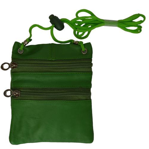 Small Soft Leather Cross Body Purse-Green Color