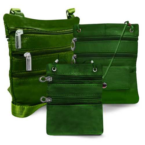 All Leather Set Of 3 Casual On The Go Bags-Green Color