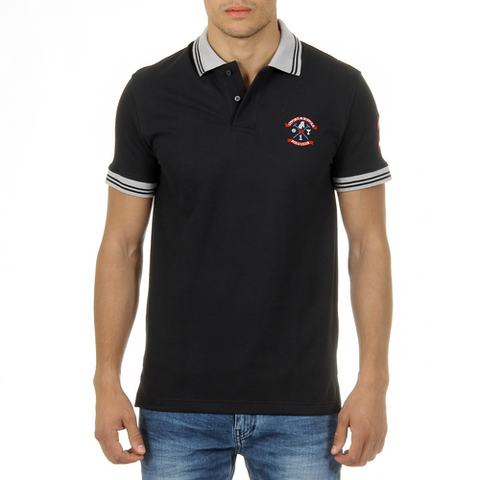 Ufford & Suffolk Polo Club Mens Polo Short Sleeves Black ENIGMA