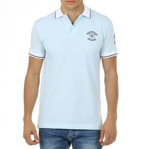 Ufford & Suffolk Polo Club Mens Polo Short Sleeves Light Blue KID
