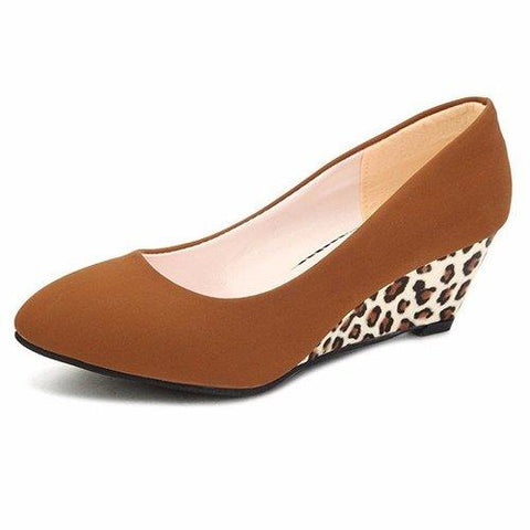 Pure Color Leopard Comfortable Elegant Slip On Wedge Heel Pumps