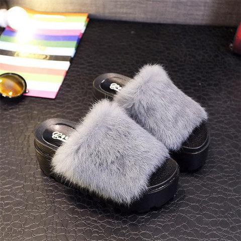 Furry Peep Toe Flat Indoor Outdoor Casual Slipper For Women