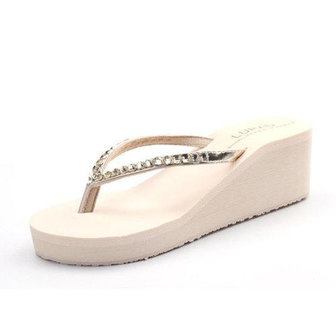 White Beaded Clip Toe Wedge Heel Platform Beach Slippers Flip Flops