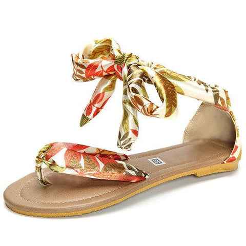 Big Size Colorful Bohemia Flip Flops Strappy Flat Casual Sandals