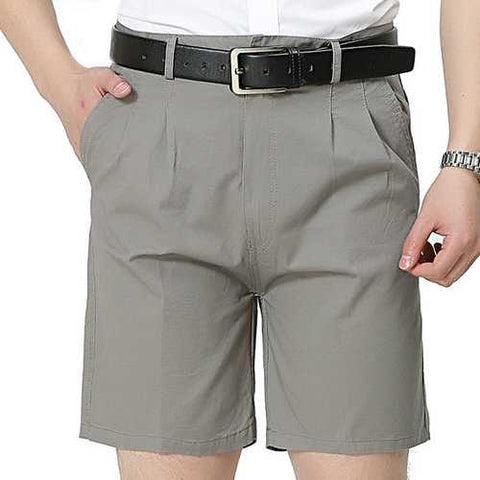 Mens Spring Summer Thin Casual Business Solid Color Pure Cotton Shorts