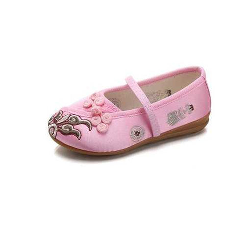 Chinoiserie Embroidered Shoes Small Buttons Casual Flats For Girls