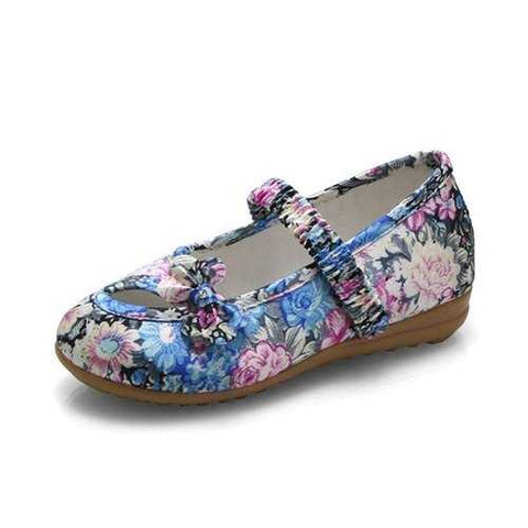 Chinoiserie Embroidered Shoes Bowknot Casual Flats For Girls