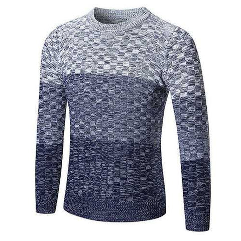 Mens Fall Winter Fashion Hit Color Knitted Round Neck Long Sleeve Casual Sweater