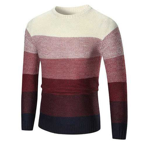 Mens Gradient Color Pullover Crew Neck Wool Hit Color Casual Sweater
