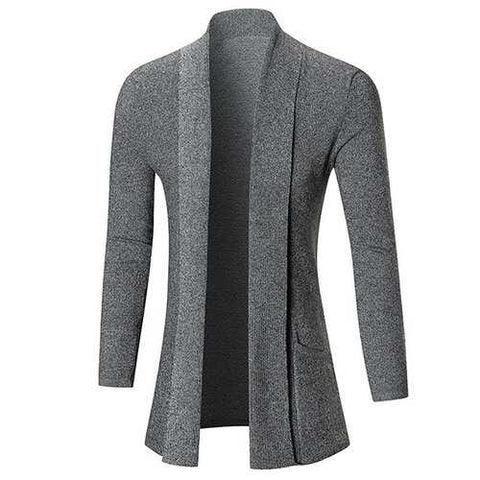 Mens Fall Winter Solid Color Knitted Cardigans Warm Turndown Collar Casual Outwear