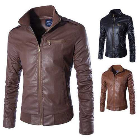 Mens Stand Collar PU Leather Jackets