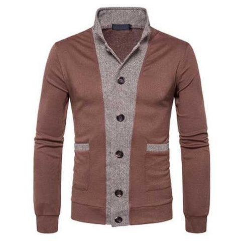 Mens Knitted Patchwork Single Breasted Cardigans