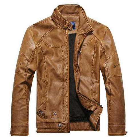 Mens Thick PU Leather Zip Pocket Cuff Jackets