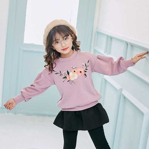 Girls Embroidery Flower Sweater