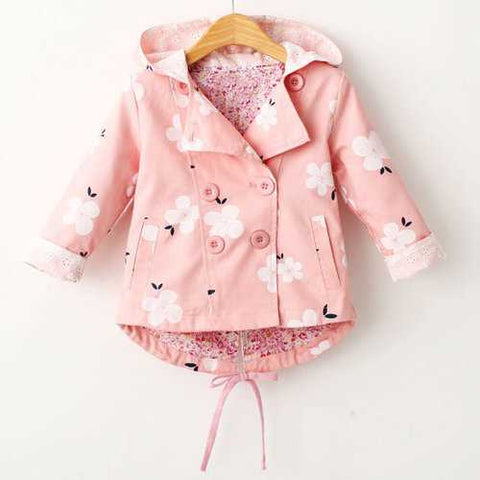 Floral Print Girls Coat Spring Autumn