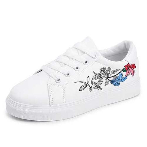 Flower Lace Up Sneaker Round Toe Casual Shoes For Women
