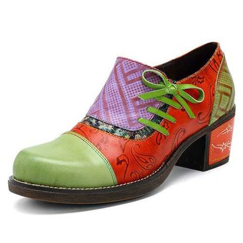 SOCOFY Retro Mid Heel Leather Shoes