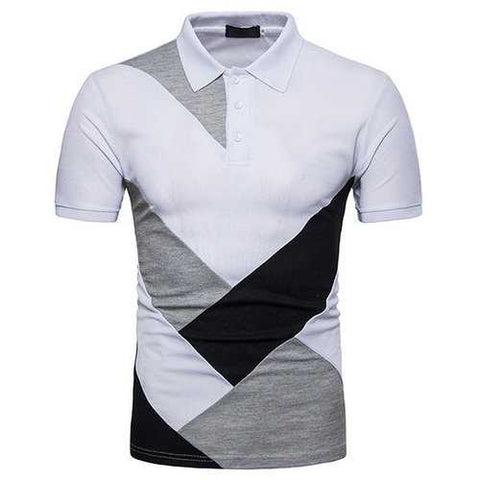 Stylish Patchwork Casual Golf Shirt