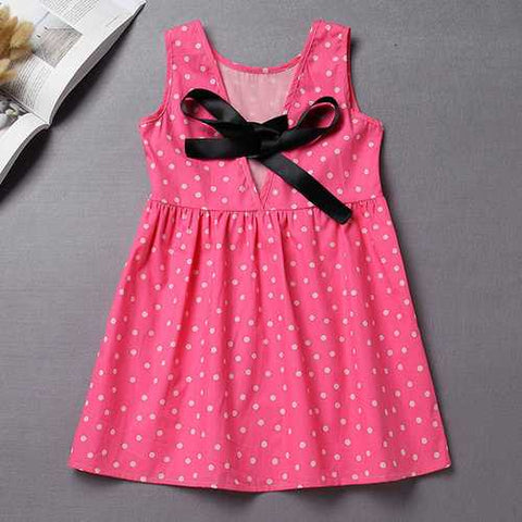 Dot Print Girls Casual Dress For 1Y-8Y
