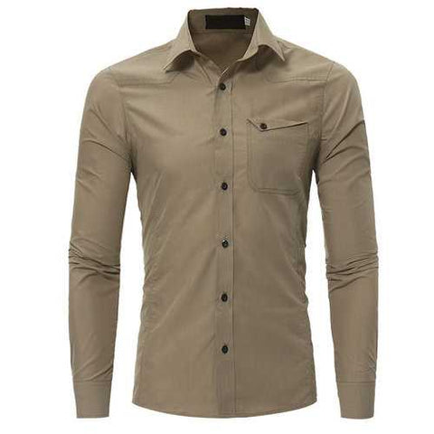 Slim Fit Long Sleeve Cotton Shirt