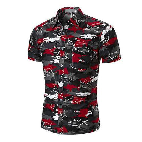 Men Shark Printing Shirt