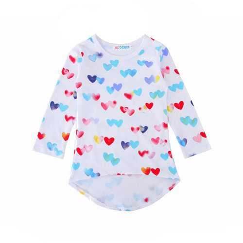 Heart Pattern Girls Long Sleeve Dress