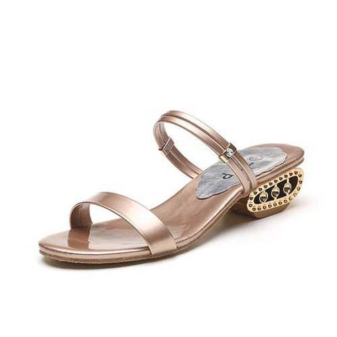Metallic Beaded Wedge Heel Sandals