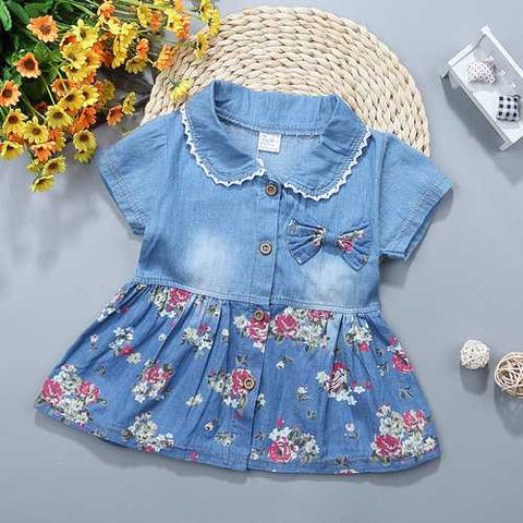 Floral Printed Girls Denim Dresses