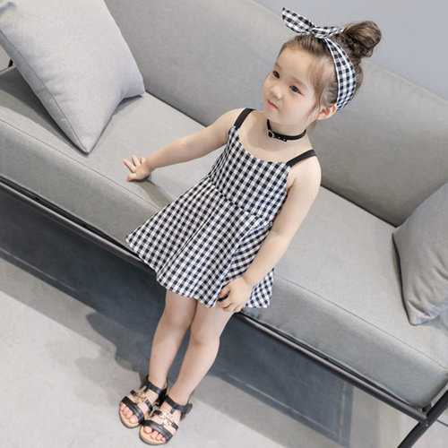 Chic Plaid Girls Summer Dress