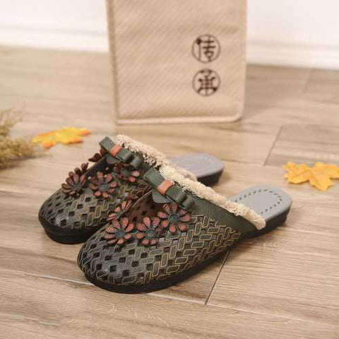 Handmade Leather Tassel Soft Slippers