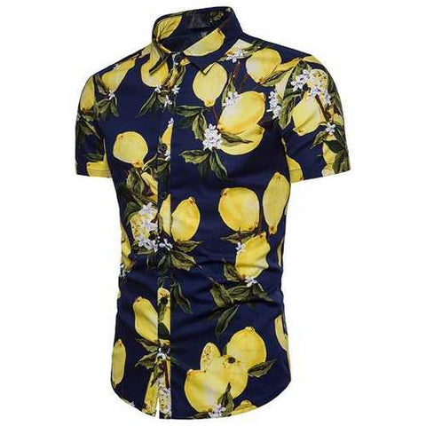 Hawaii Lemon Printing Slim Shirts