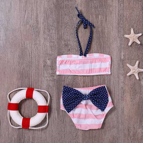 Stripe Bowknot Girls Bikini Set For 1Y-4Y
